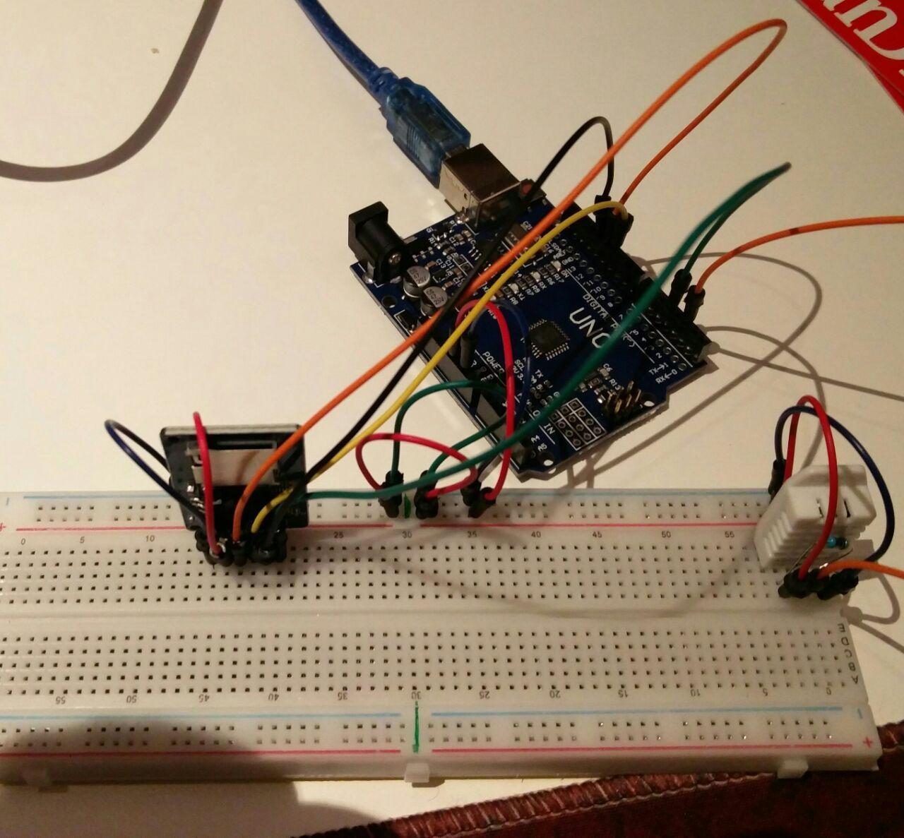 Arduino micro sd eta tenperatura eta hezetasun sensoreekin
